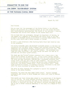 Circular letter from Committee to End the Jim Crow 'Silver-Gold' System in the Panama Canal Zone to W. E. B. Du Bois