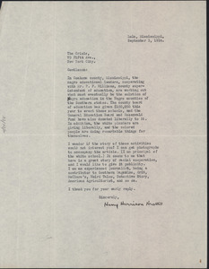 Letter from Harry Harrison Kroll to Crisis