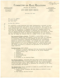 Circular letter from The Committee on Race Relations to W. E. B. Du Bois
