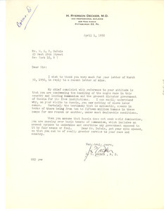 Letter from H. Ryerson Decker to W. E. B. Du Bois