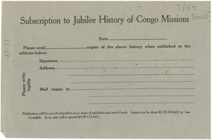 Subscription to Jubilee History of Congo Missions