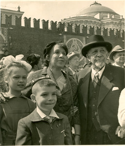 W. E. B. Du Bois and Shirley Graham Du Bois viewing the May Day parade in Moscow's Red Square