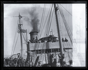 Woodrow Wilson's return from the Paris Peace Conference: Wilson on deck of the Coast Guard cutter Ossipee, approaching Commonwealth Pier in South Boston