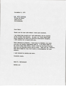 Letter from Mark H. McCormack to Hank Ketcham