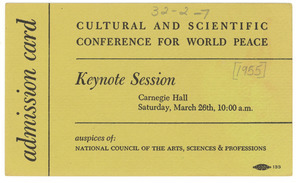 Admission card to Cultural and Scientific Conference keynote session