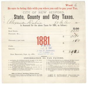 City of New Bedford state, county and city real estate taxes