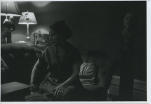 Shirley Graham Du Bois sitting on the couch in her Brooklyn home