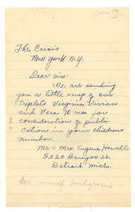 Letter from Eugene Howell to the Crisis