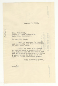 Letter from W. E. B. Du Bois to Mrs. John Work