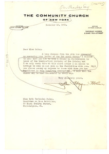 Letter from John Haynes Holmes to Committee on Race Relations