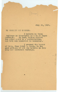 Letter from W. E. B. Du Bois to Whom it may concern