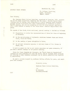 Circular letter from Japanese Peace Liaison Committee to W. E. B. Du Bois