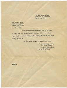 Letter from W. E. B. Du Bois to Mrs. Thomas Bell