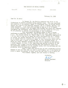 Letter from Faculty of Social Science to W. E. B. Du Bois