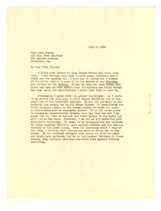 Letter from W. E. B. Du Bois to Anna Melissa Graves