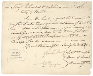 Letter from Grotius Dewey to Charles W. Hopkins