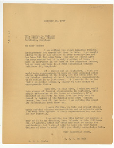 Letter from W. E. B. Du Bois to Mrs. George H. Holland