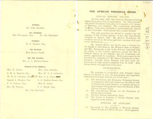 The African Progress Union Annual Report, 1921-1922