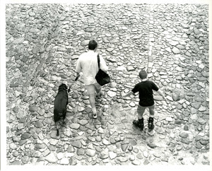 Mother, son, dog; cobblestones