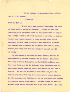 Letter from James McCall to W. E. B. Du Bois