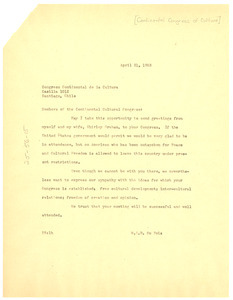 Letter from W. E. B. Du Bois to Members of the Continental Cultural Congress