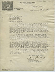Letter from The Public Library of the City of Boston to W. E. B. Du Bois