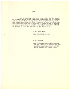 Letter from W. E. B. Du Bois to unidentified correspondent