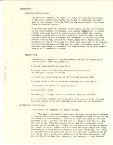 Activities of the National Committee to Defend Dr. W. E. B. Du Bois and Associates in the Peace Information Center