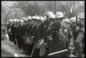 May Day demonstrations and street actions by the Justice Department: line of police with truncheons at ready