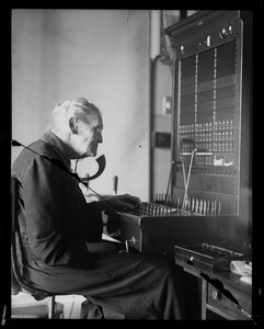 Arvilla Sarepta Haynes, America's oldest telephone operator at her switchboard