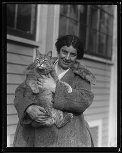 Mrs. Charles Holmes with Bobby the cat