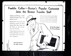 Franklin Collier, Boston's popular cartoonist, joins the Boston Traveler staff