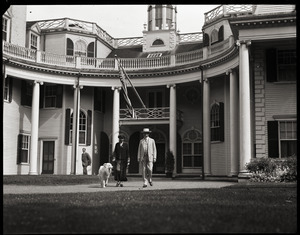 Calvin and Grace Coolidge with their collie at White Court, on Little's Point Road in Swampscott