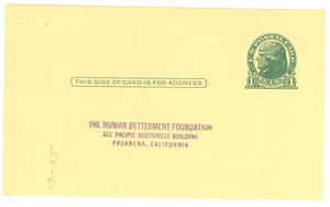 Human Betterment Foundation reply card