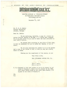 Letter from Pittsburgh Courier to W. E. B. Du Bois