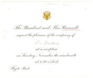 Invitation from Franklin D. Roosevelt Library to W. E. B. Du Bois
