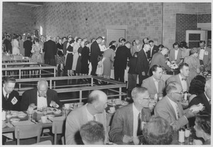 Class of 1911 alumni at a dining facility during a reunion