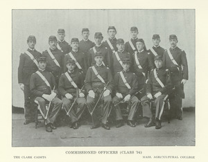 Clark Cadets, seventeen commissioned officers from the class of 1894 in uniform