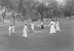 Women at a summer school playing a lawn game
