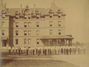 Class of 1872 performing Dumbbell drill in front of North College
