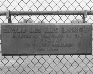 Edward Lee King Backstop plaque