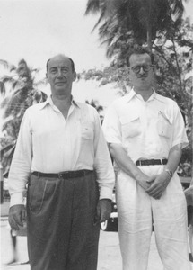 Adlai Stevenson and William Manchester standing outdoors