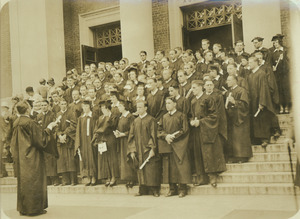 Class of 1931 on Stockbridge Hall steps with diplomas