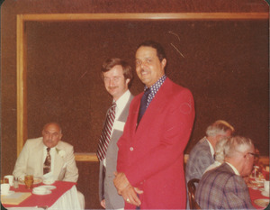 Demetrius Galanie at reunion dinner with Randolph Bromery and unidentified man