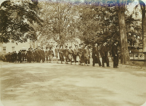 Graduates approaching the rhododendron garden
