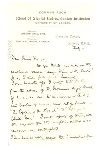 Letter from A. Werner to Miss Fauset