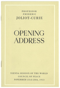 Opening Address of the Vienna session of the World Peace Council