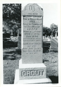 Grave marker for Aldin Grout and wife