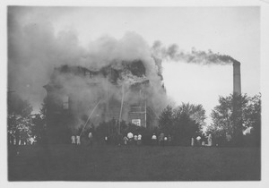 Chemistry Building (also known as College Hall) in flames, Massachusetts Agricultural College