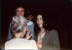 Andy Baer and Patti Smith conversing with Roberta Meyer (?)